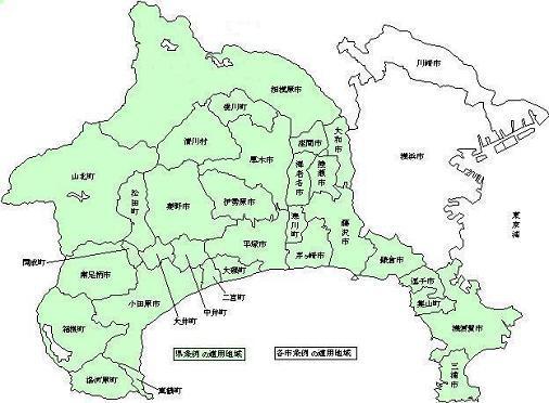 県条例の適用地域地図