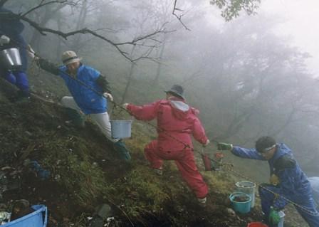 写真:バケツリレーで放置ゴミを撤去するボランティアの皆さん