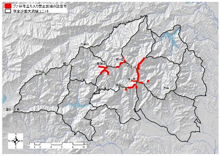 図:ブナ林等立ち入り禁止区域設置等の位置図
