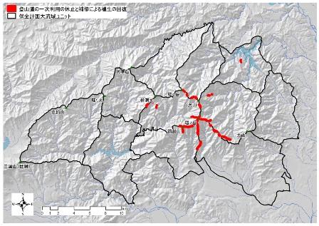 図:登山道の一時利用の休止と補修により植生の回復を図った位置