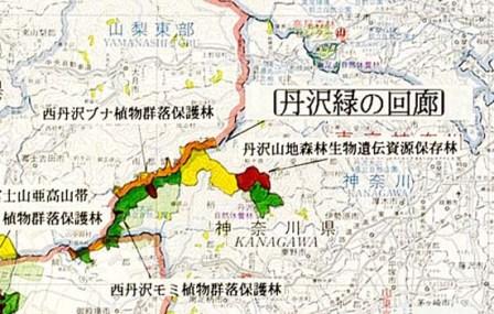 地図:丹沢緑の回廊の位置図