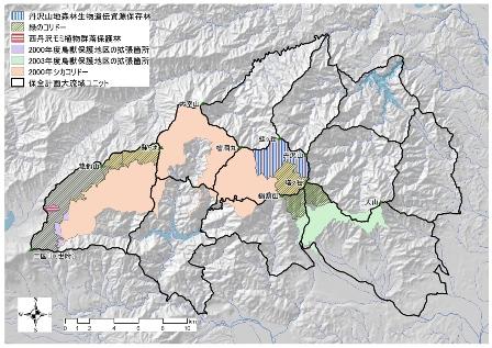 図:丹沢緑の回廊および拡張した鳥獣保護区の位置