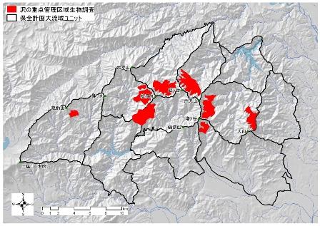 図:沢の重点管理区域の生物調査を行った位置