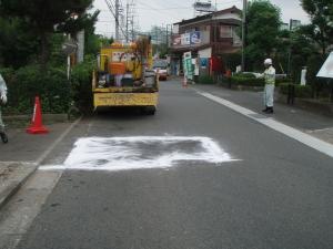 道路の補修が完成した写真