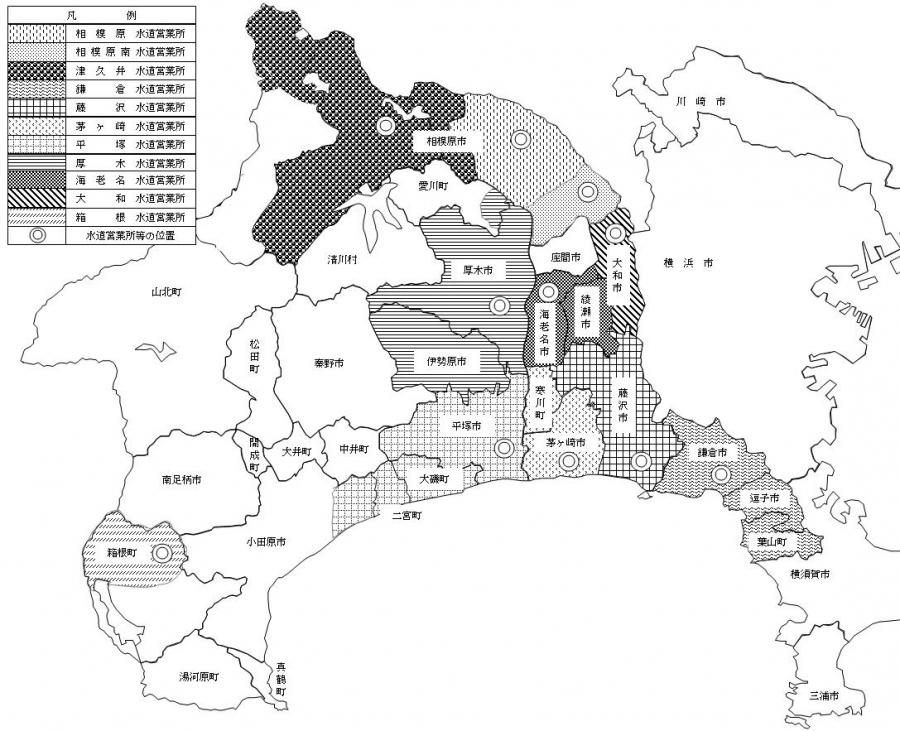 水道営業所別管轄区域図