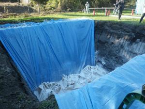 フレコンバックを埋却溝に入れ、消石灰を散布