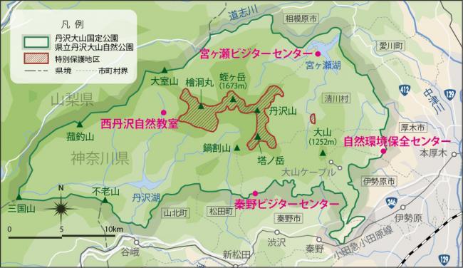 地図:丹沢の主要な山